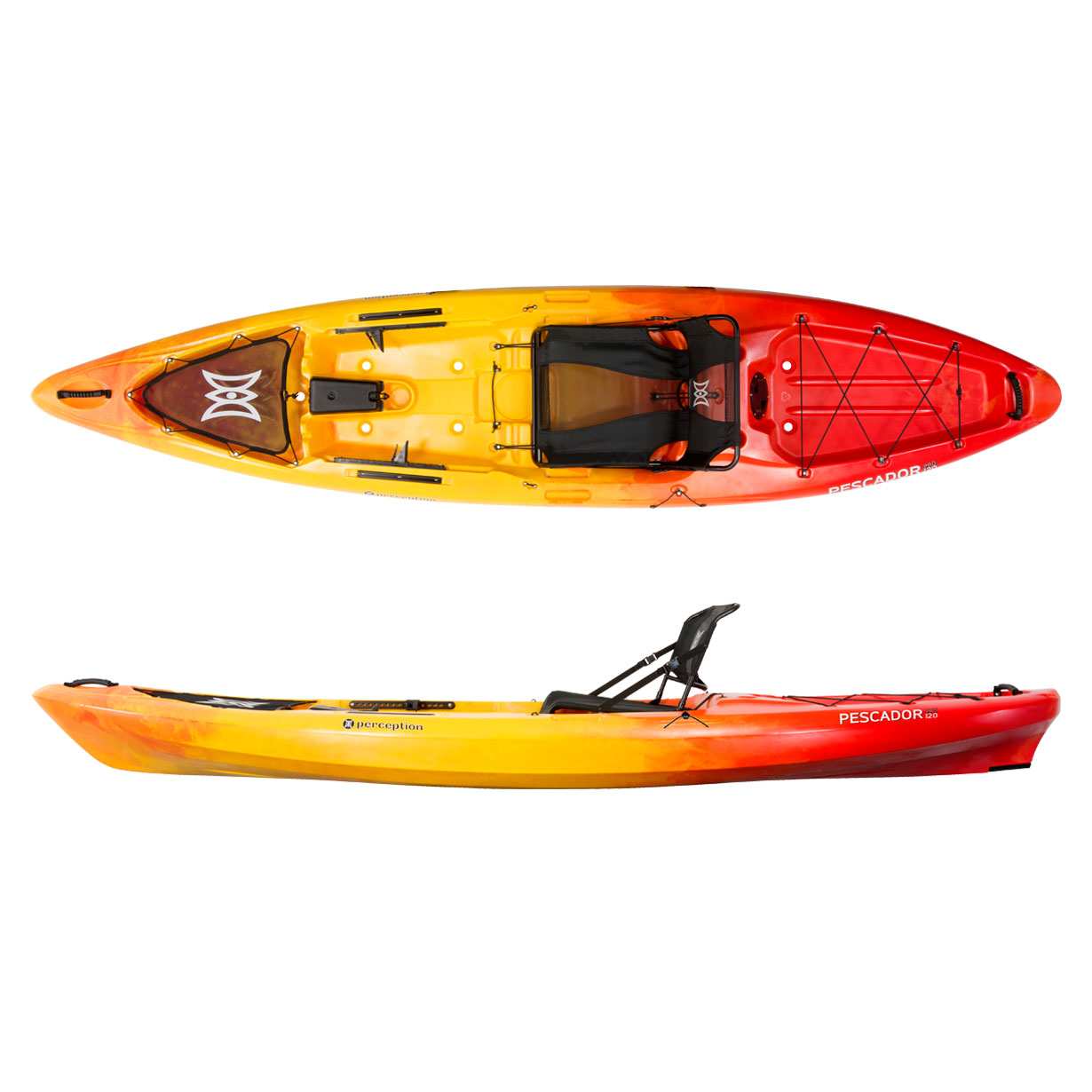 Perception pescador pro 12 sit on top fishing kayak for Sit on vs sit in kayak for fishing