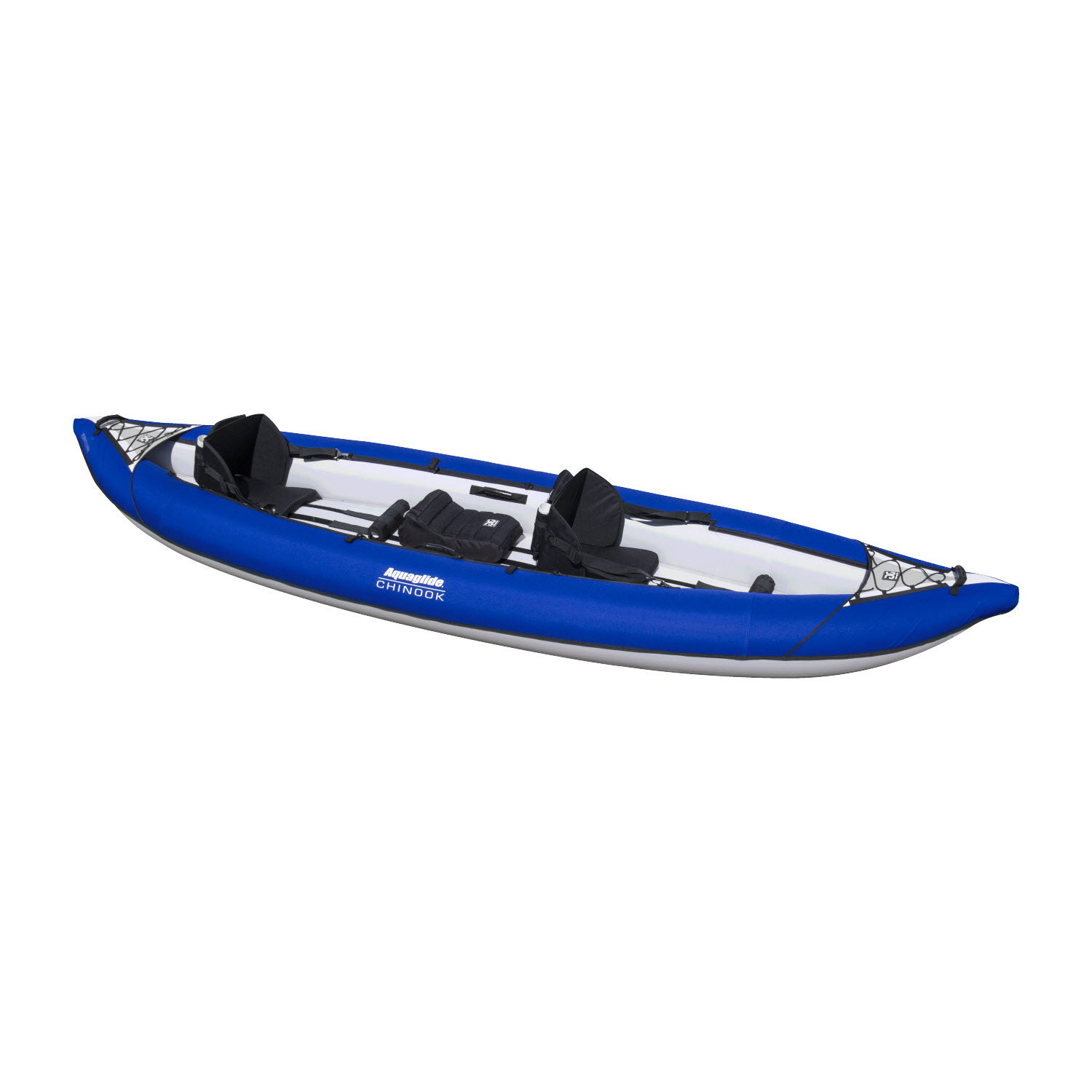 Aquaglide chinook xp tandem xl 3 person inflatable kayak for Rei fishing gear