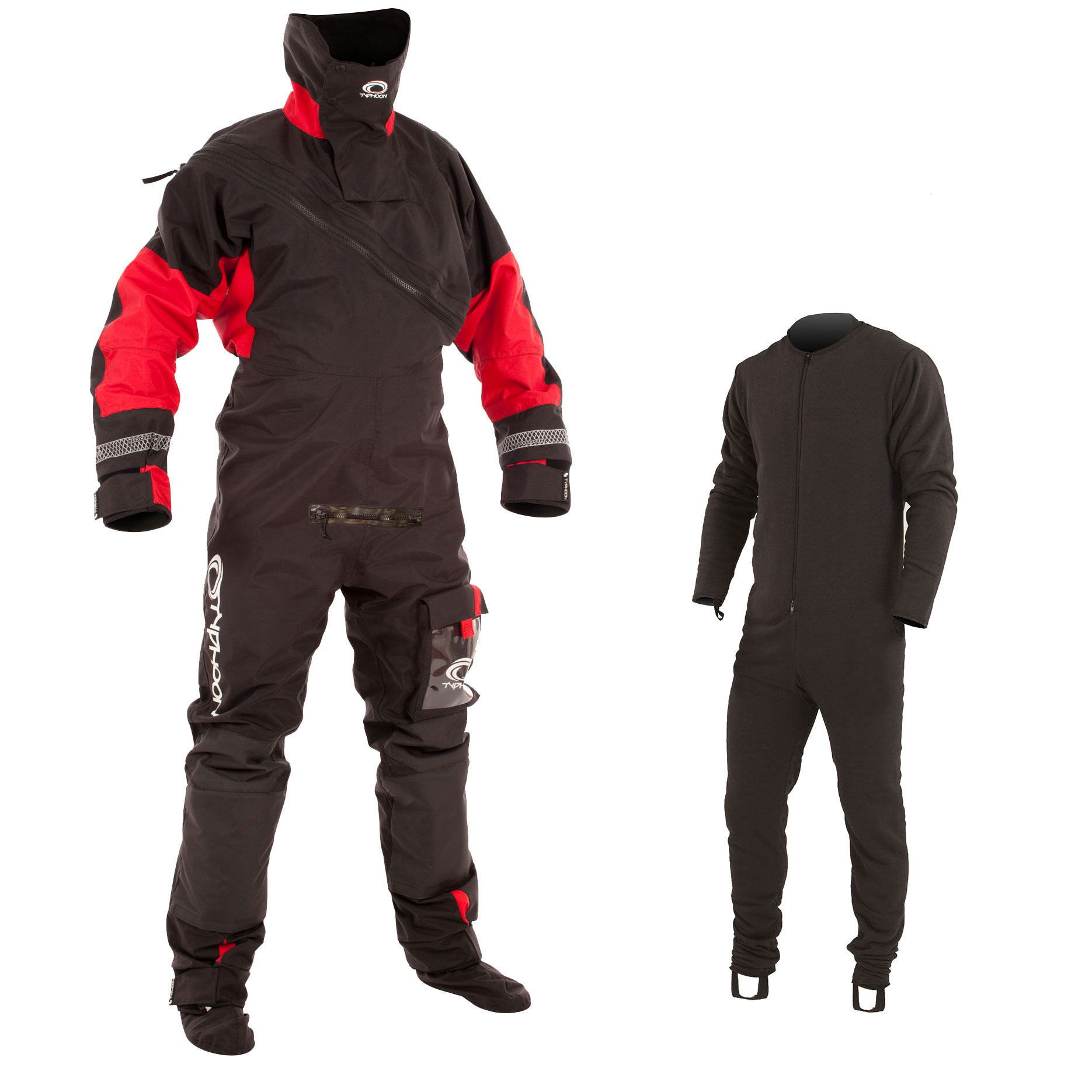 Typhoon Max B Drysuit Black/Red c/w Con Zip 2018 - Incl Undersuit
