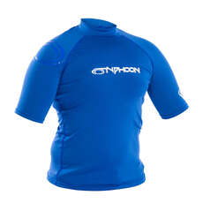 Typhoon Junior Flatlock Short Sleeve Rashguard - Aqua Blue