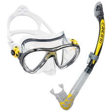 Cressi Big Eyes Evolution Y Juego De Mascarilla Y Snorkel Alpha Dry Top - Amarillo