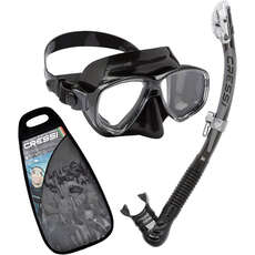 Cressi Marea & Alpha Dry Top Mask & Snorkel Set - Black