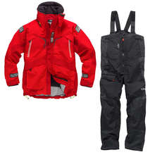 Gill OS23 Jacket & Trouser Sailing Kit Combo  - Red/Graphite