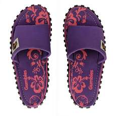 Chanclas De Lona Slide Para Mujer Gumbies - Purple Hibiscus