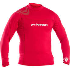2020 Typhoon Long Sleeve Flat Locked Rash Vest - Rich Red 430012