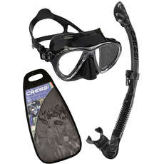 Cressi Big Eyes Evolution Y Alpha Dry Top Mask Y Snorkel Set - Negro / Negro