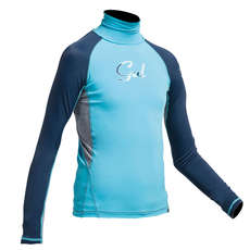 Gul Junior Flatlock Long Sleeve Rashguard 2019 - Turquoise/Navy