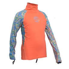 Gul Junior Girls Long Sleeve Rashvest 2019 - Coral/Lines
