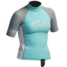 Gul Surf Junior Girls Manica Corta Rashguard 2019 - Glacier / Bianco