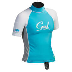 Gul Surf Junior Girls Manica Corta Rashguard 2019 - Turchese / Argento