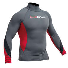 Gul Xola Flatlock Long Sleeve Rashguard 2017 - Ash/Red