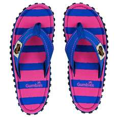 Chanclas Para Mujer Gumbies Islander Canvas - Blue & Pink Stripe
