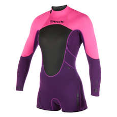 Mystic Womens Brand 3/2mm Back-Zip Longarm Shorty Wetsuit  - Purple