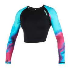 Mystic Womens Dazzled Longarm Crop Top Rash Vest 2019 - Aurora