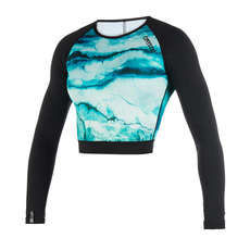 Mystic Womens Dazzled Longarm Croptop Rash Top  - Mint