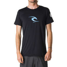 T-Shirt À Manches Courtes Rip Curl Icon Rash Guard Uv 2019 - Noir